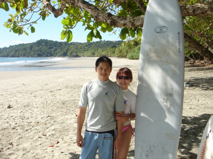 First time surfing together, in Costa Rica 2003