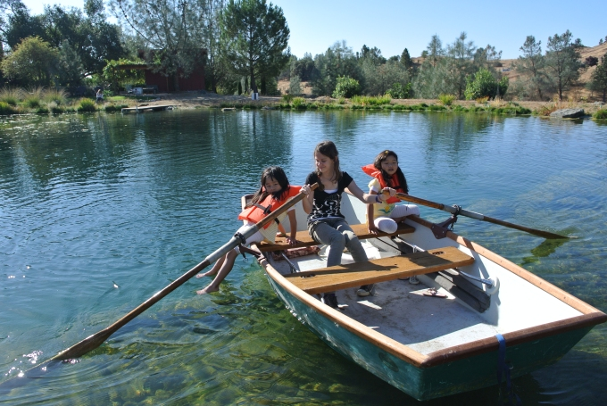 Boat rowing with their new friend Grace at Eden Vale Inn