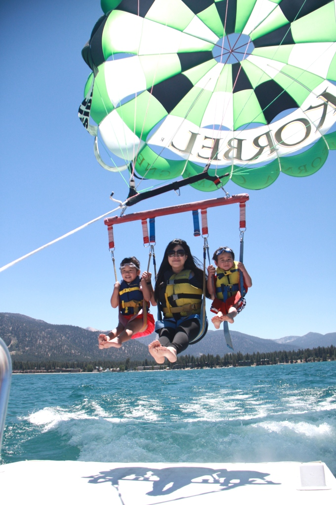 Parasailing in Lake Tahoe  with our cousins