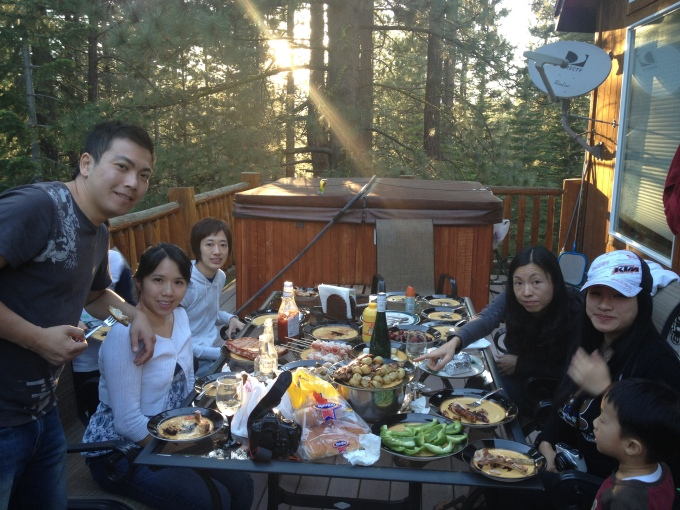 BBQ at our cabin in Lake Tahoe