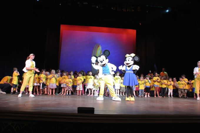 Lucky Bridgette got to be in the first row, right in the center behind Mickey Mouse!