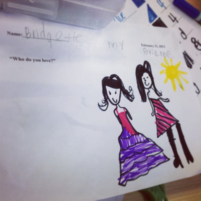 "In class, each student had to write and draw their answer to the question ""Who do you love?"""