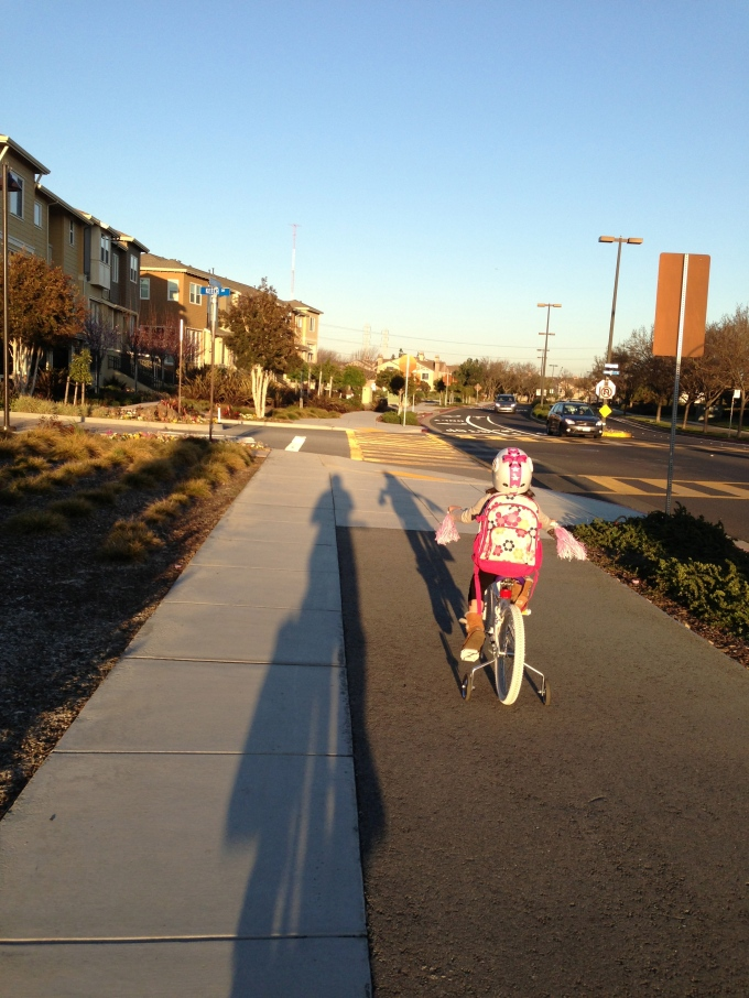 My shadow with Bridgette's riding our bikes home