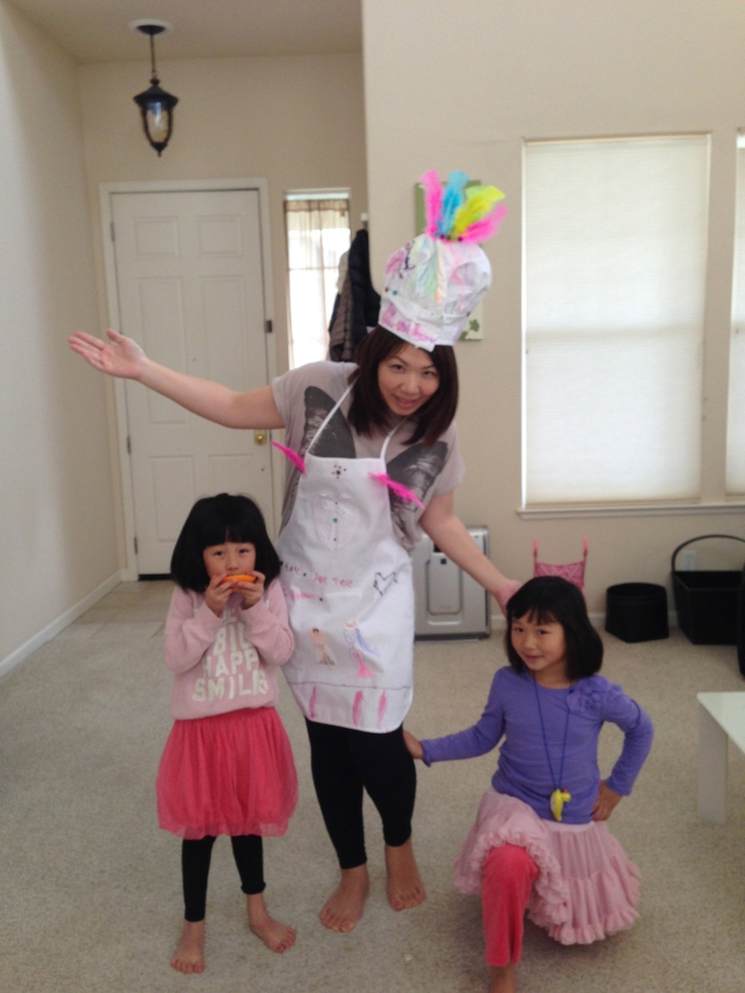 The girls gifted me a one-of-a-kind chef's hat and apron set, which they worked very hard on!