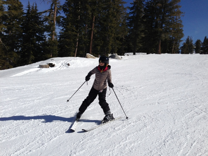There goes my sis, who hadn't been on the slopes for 8 years!