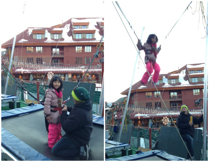 Brianne was brave and jumped too, but she was a bit more careful in how high she went, and refrained from doing any flips