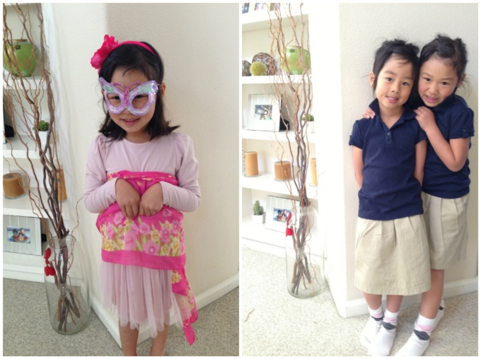 Left: Bridgette loves accessorizing her outfits | Right: My sis loves preppy outfits for the girls