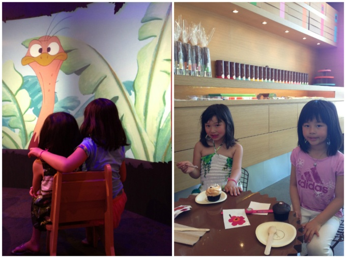 Left: Enjoying a free cartoon at the Disney store | Right: Cupcake time at Sprinkles