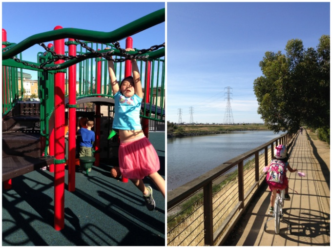 Left: Practicing her monkey bar skills at school | Right: Biking home from school