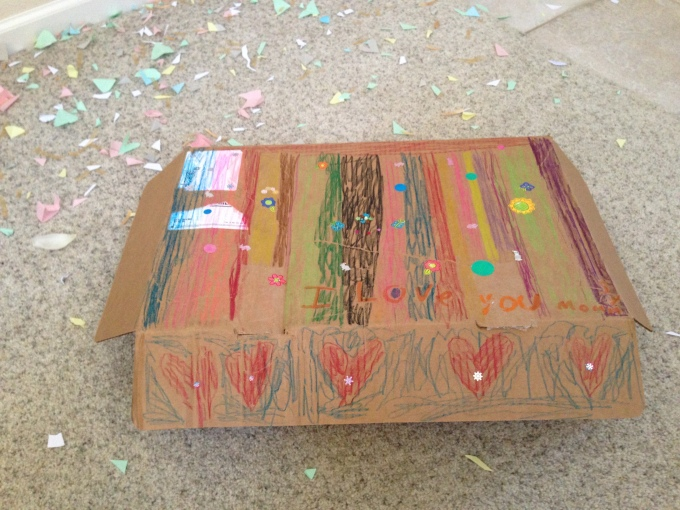The box of artwork that the girl made for Mimi and I as a Mother's Day gift, along with the confetti that they spent a week making (which got rained on us from the 2nd floor as a surprise on Mother's Day) ^_^