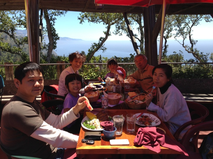 Lunch with a view at Nepenthe. Had the best banana cream pie there!
