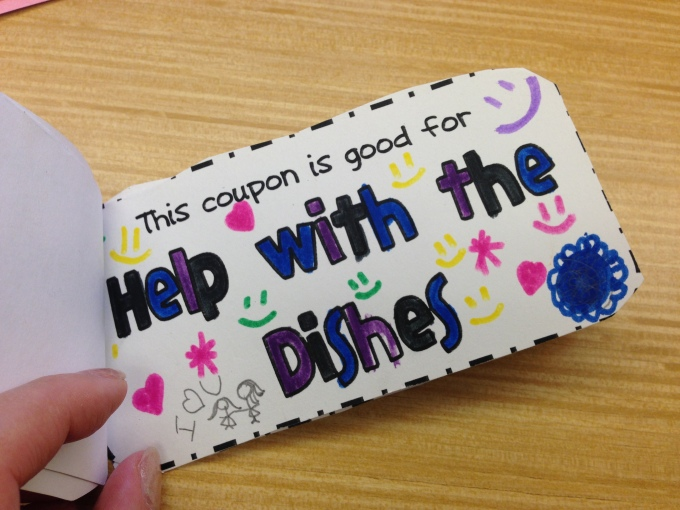 "A ""coupon book"" was one of the gifts prepared for the moms, with redeemable couples of various chores around the house! :)"