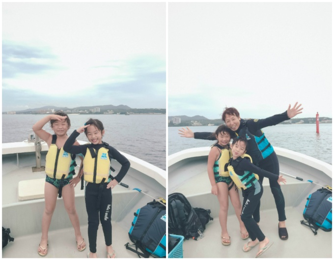 Bridgette was quick to strip off her wetsuit as soon as we got back on the boat!