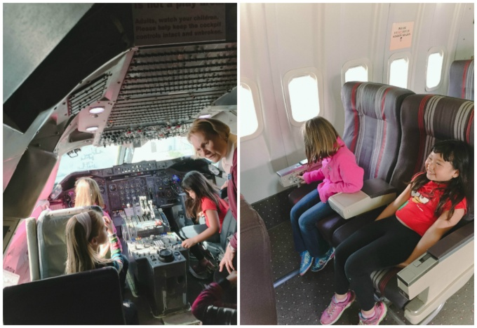 The kids were thrilled to sit inside a real cockpit, and in the pilot's seat no less!