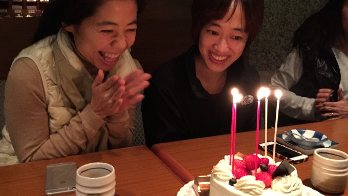 We surprised Mimi & Alice with a birthday cake after a delicious Kobe beef meal at Serenya