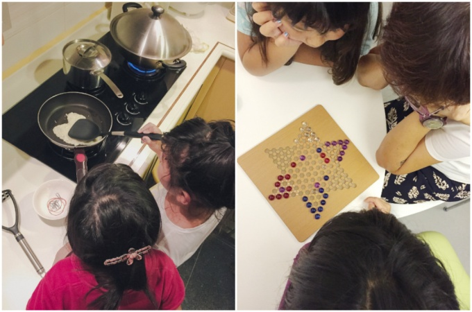 Home cooking and a competitive game of chinese checkers