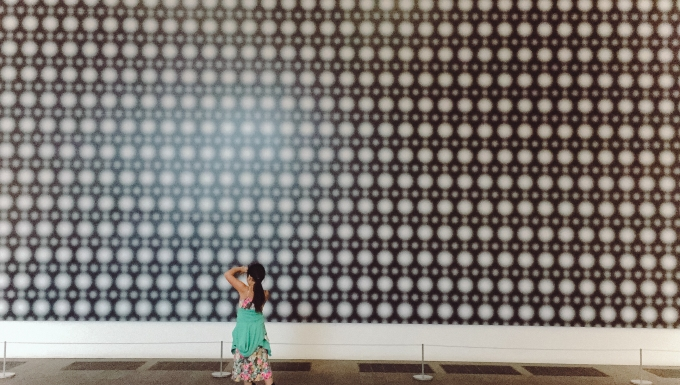 Admiring the Strontium mural at De Young Museum