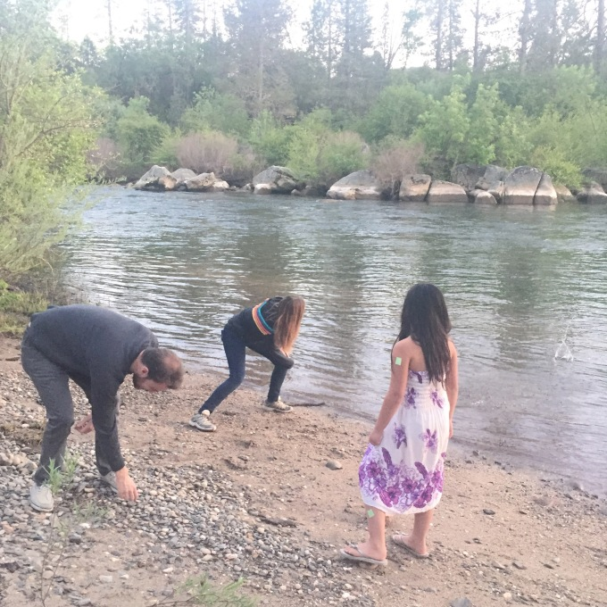 Our new friends teaching Bridgette how to skip rocks