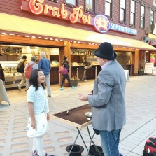 Bridge was totally mesmerized by this magician's tricks