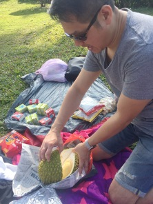 Who brings a durian to a picnic? My hubby, apparently!